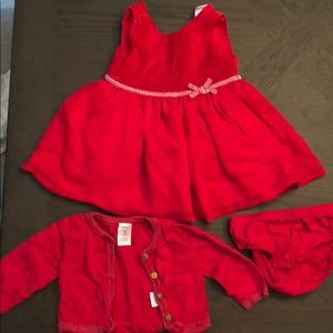 3M Red dress with Sweater and matching Bloomers